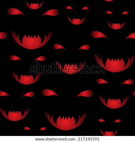 vector seamless pattern of scary halloween smiles - stock vector