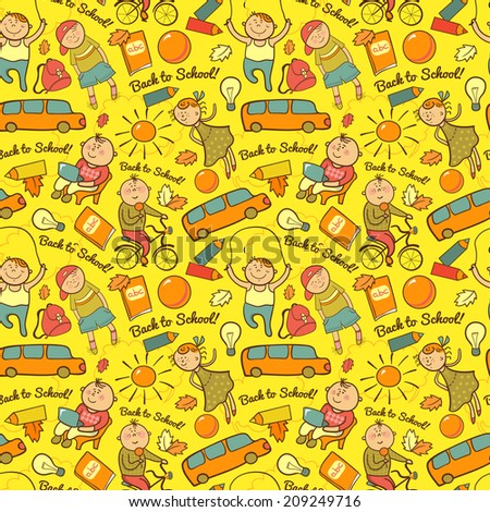 Vector seamless pattern of school, cheerful background with children, back to school - stock vector