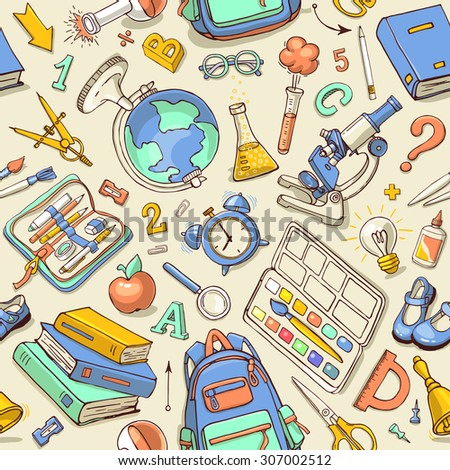 Vector seamless pattern of school supplies in notebook. Back to school colorful sketchy elements. Can be used for fabric, wallpaper, pattern fills, textile, web page background. - stock vector