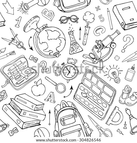 Vector seamless pattern of school supplies in notebook. Black and white back to school sketchy elements - stock vector