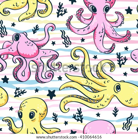 Vector seamless pattern of sea life, octopus and sea plants in bright colors for wallpaper,pattern fills, web page background, ?hildren's fabrics. - stock vector