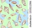vector seamless pattern of shells on blue background - stock vector