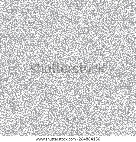 Vector seamless pattern of silver grey foliage on white background - stock vector