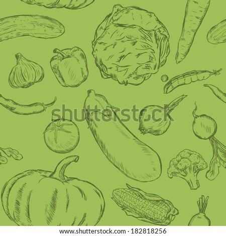 Vector Seamless Pattern of Sketch Vegetables on Green Background - stock vector