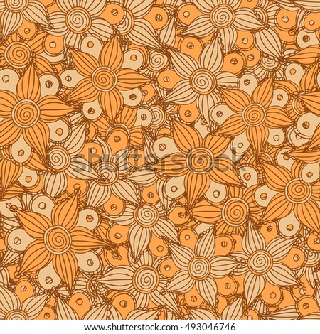 Vector seamless pattern of stylized floral motif, flowers, hole, spots, doodles in orange colors. Hand drawn. Seamless floral background.
