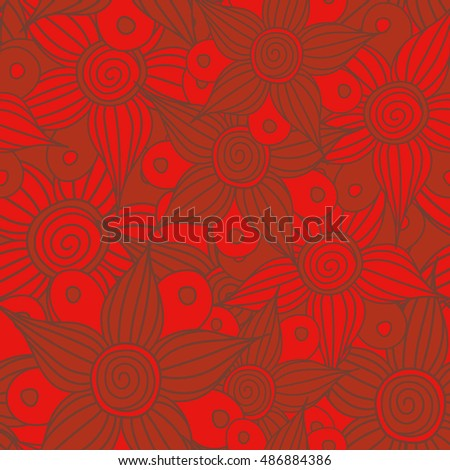 Vector seamless pattern of stylized floral motif, flowers, hole, spots, doodles in red colors. Hand drawn. Seamless floral background.