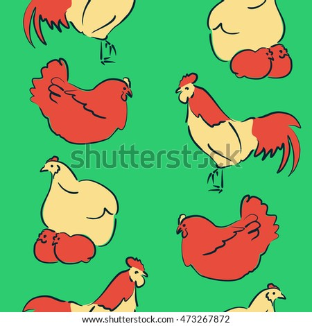 Vector seamless pattern of stylized rooster, hen, cock, chicken with hole and spots on colored background. Hand drawn. Colorfil seamless cock and hen background.