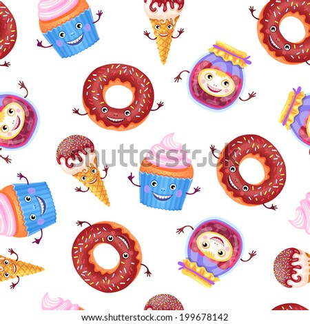 Vector seamless pattern of sweets characters