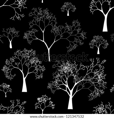 Vector Seamless Pattern of Tree Silhouettes on Black Background - stock vector