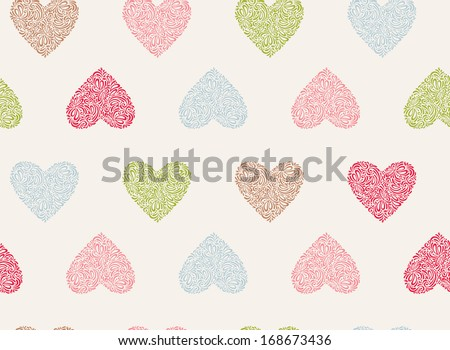 Vector seamless pattern of Valentine's Day in retro colors. Vector illustration. Abstract floral hearts. Vintage style. - stock vector