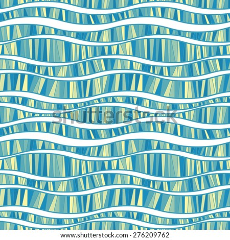 Vector seamless pattern of wavy lines connected strokes - stock vector