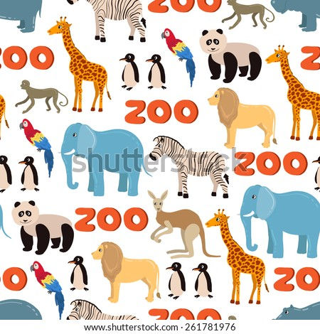 Vector seamless pattern on the theme of zoo with funny animals on white background. Background for use in design, web site, packing, textile, fabric - stock vector
