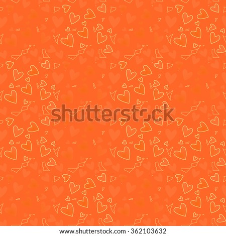 Vector seamless pattern. Orange hearts with geometric objects. For Valentine's Day, Web, printing, background for wedding invitation or romantic wrapping paper, textiles, fabrics, home decor. - stock vector