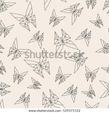 Vector Seamless Pattern Paper Origami Butterfly