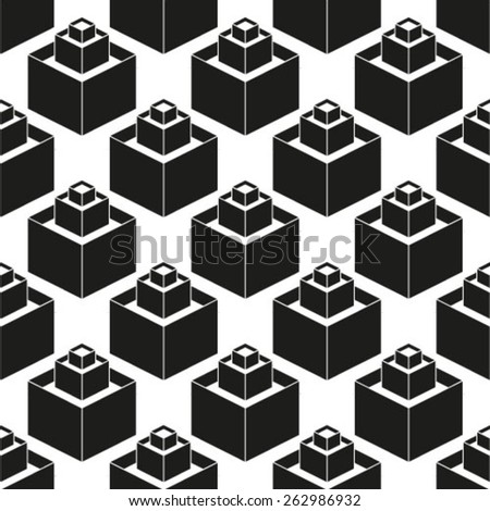Vector seamless pattern Repeating geometric background with isometric cubes - stock vector