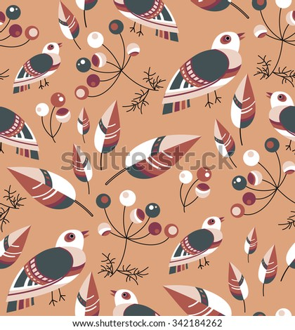 Vector seamless pattern. Retro style print consist of birds, berries and leaves. Warm  autumn impression.