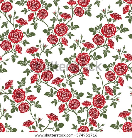 Vector seamless pattern - romantic red roses. For printing on fabric, scrapbooking, gift wrap. - stock vector