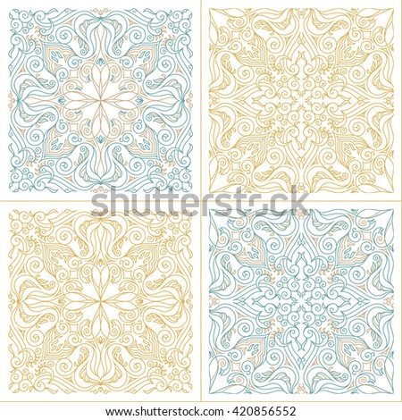 Vector seamless pattern set with art ornament. Vintage elements for design in Victorian style. Ornamental lace tracery background. Ornate floral decor for wallpaper. Endless texture - stock vector