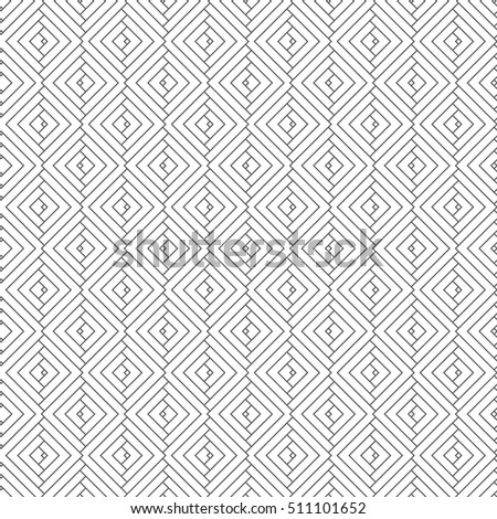 Vector seamless pattern. Simple minimal abstract geometric background. Modern linear texture with thin lines. Regularly repeating geometrical tiled grid with rhombus, diamond. Outline. Trendy design