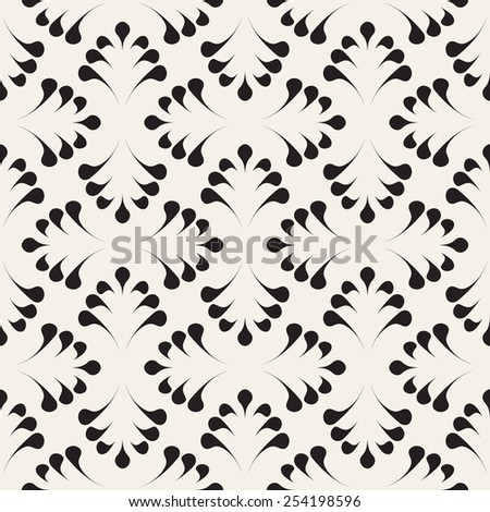 Vector seamless pattern. Stylish elegant ornament. Geometric floral background. Vector repeating texture. Monochrome graphic design - stock vector