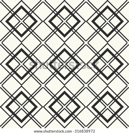 Vector seamless pattern. Stylish textile print with geometric design. Monochrome fabric background.