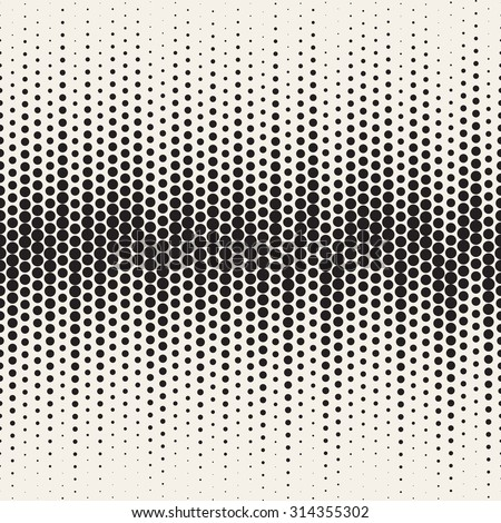 Vector seamless pattern. Stylish texture with structure from circles. Irregular monochrome halftone. - stock vector