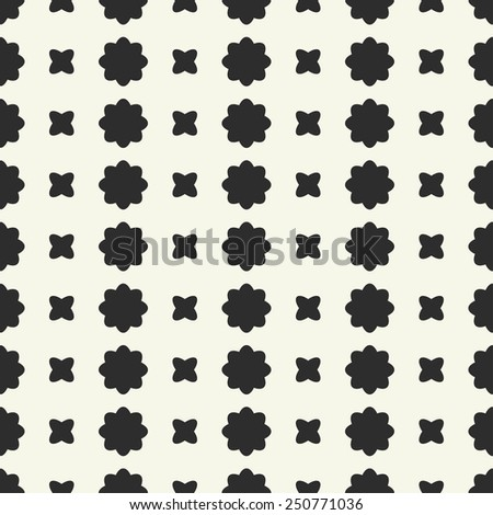 Vector seamless pattern. Stylized black flowers and quatrefoil on a yellow background. - stock vector
