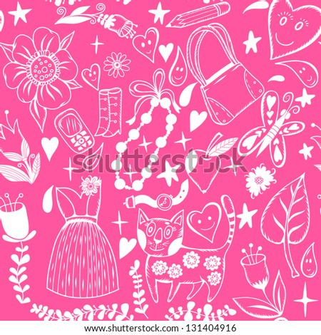 "Vector seamless pattern ""The Girlish dreams"" with a flowers, hearts, sweet stuffs and a cat./bright pink"