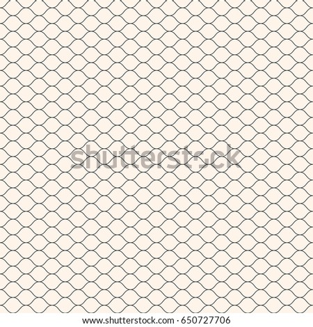Vector seamless pattern, thin wavy lines. Texture of mesh, fishnet, lace, weaving, subtle lattice. Simple monochrome geometric background. Design for prints, decor, fabric, textile, covers, digital
