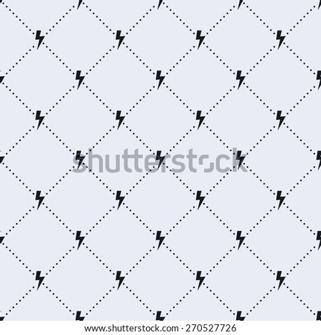 Vector seamless pattern. Tiled square background with monochrome lightning icon and dotted lines.