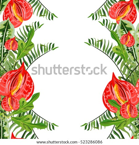 vector seamless pattern - tropical flowers