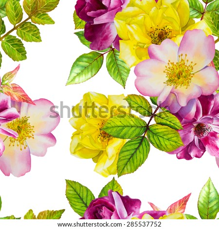 Vector seamless pattern. Watercolor floral hand-drawn illustration. Purple and yellow roses on a white background.  - stock vector