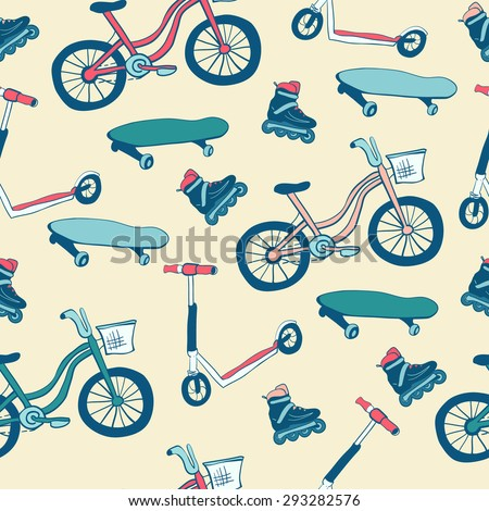 Vector seamless pattern Wheeled sports equipment. Pink, blue and green colors on light beige background. Bicycle, scooter, skateboard and rollers skates drawn in doodle style. - stock vector