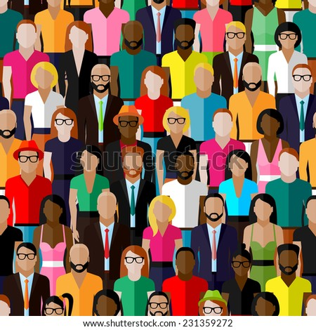 vector seamless pattern with a large group of men and women. flat  illustration of society members. population - stock vector