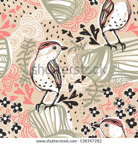 vector seamless pattern with abstract birds and floral elements - stock vector