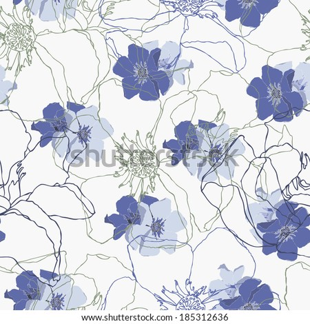 vector seamless pattern with abstract flowers, colorful - stock vector