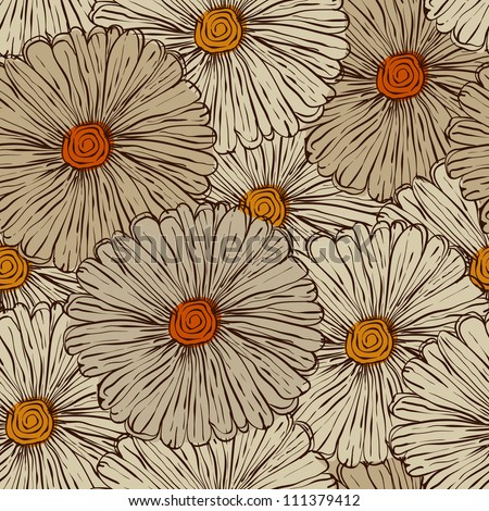 Vector Seamless Pattern with Abstract Flowers, fully editable eps 8 file with clipping mask, pattern in swatch menu - stock vector
