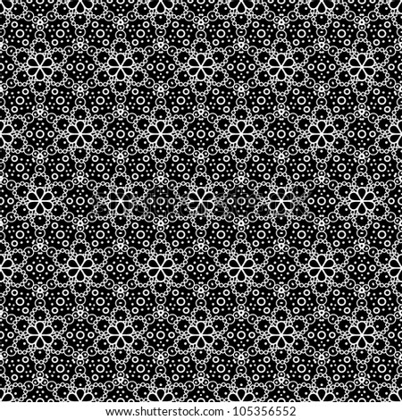 Vector seamless pattern with abstract flowers or snowflakes