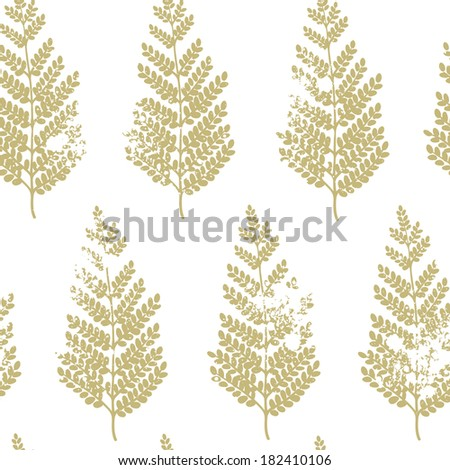 Vector seamless pattern with acacia leaves. Vintage natural background - stock vector