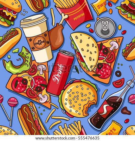 vector seamless pattern american fast food stock vector