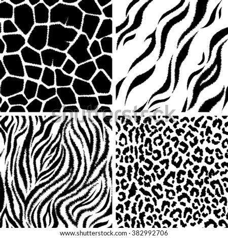 Vector seamless pattern with animal prints. Background, backdrop, print fabric. - stock vector