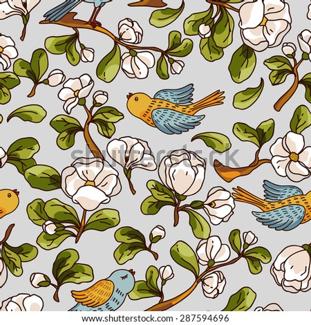 Vector seamless pattern with apple blossom and birds. Beautiful hand drawn texture. Romantic background for web pages, wedding invitations, textile, wallpaper. Vector, Isolated on white background. - stock vector