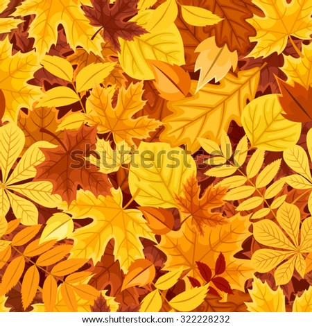 Vector seamless pattern with autumn colorful leaves. - stock vector