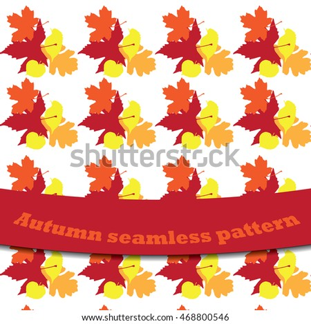 Vector seamless pattern with autumn leaves of marple, oak, beech, sycamore