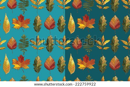 Vector seamless pattern with autumn set leaves. Background with  aspen; alder; elm; willow; maple; oak; Potentilla. eps 10 - stock vector