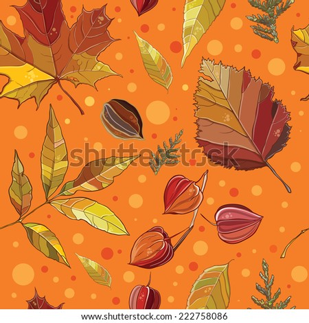 Vector seamless pattern with autumn set leaves, nuts, tree. Background with Thuja; aspen; physalis; alder; elm; willow; maple. eps 10 - stock vector