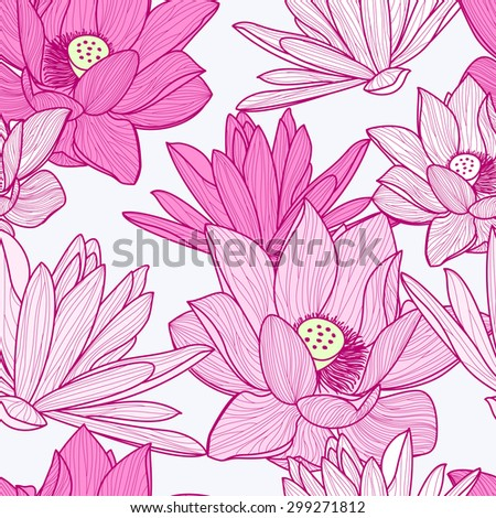 Vector seamless pattern with beautiful pink lotus flower. Floral illustration background.