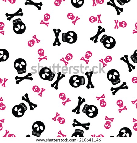 Vector seamless pattern with black and pink skulls and bones on white background - stock vector
