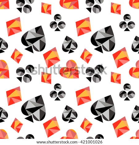 Vector seamless pattern with black and red playing card symbols. Polygonal design. Geometric triangular origami style, graphic illustration. Series of Gaming and Gambling Seamless Patterns.  - stock vector
