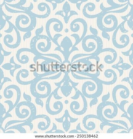 Vector seamless pattern with blue ornaments. Vintage element for design in Victorian style. Ornamental lace tracery. Ornate floral decor for wallpaper. Endless vintage texture. Light pattern fill. - stock vector